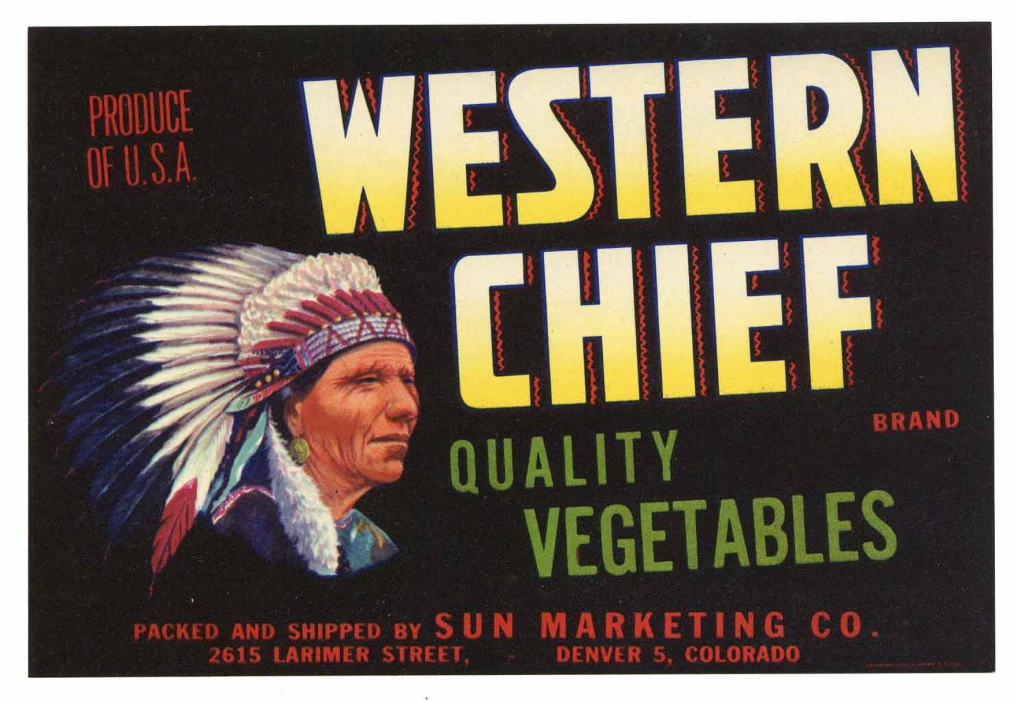 Western Chief Brand Vintage Colorado Vegetable Crate Label