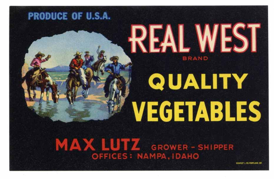 Real West Brand Vintage Nampa Idaho Produce Crate Label