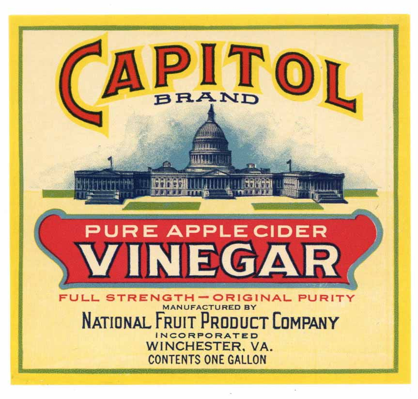 CAPITOL Brand Vintage Vinegar Bottle Label