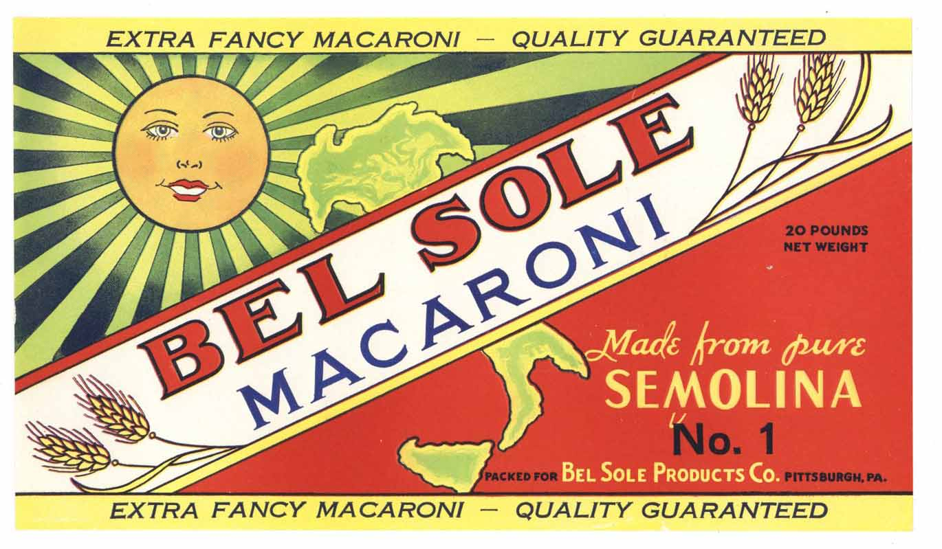 BEL SOLE Brand Vintage Macaroni Box Label