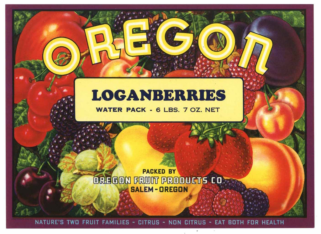 Oregon Brand Vintage Loganberries Can Label