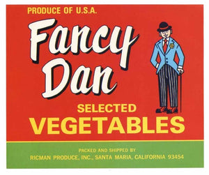 Fancy Dan Brand Vintage Santa Maria Produce Crate Label