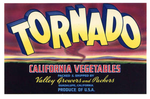 Tornado Brand Vintage Vegetable Crate Label