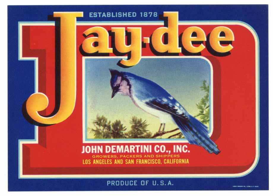 Jay-Dee Brand Vintage Produce Crate Label, b