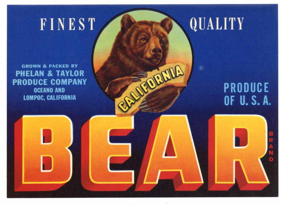 Bear Brand Vintage Oceano Produce Crate Label