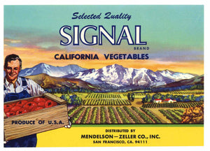 Signal Brand Vintage Vegetable Crate Label