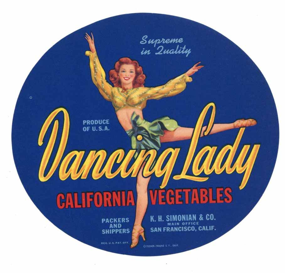Dancing Lady Brand Vintage Vegetable Crate Label