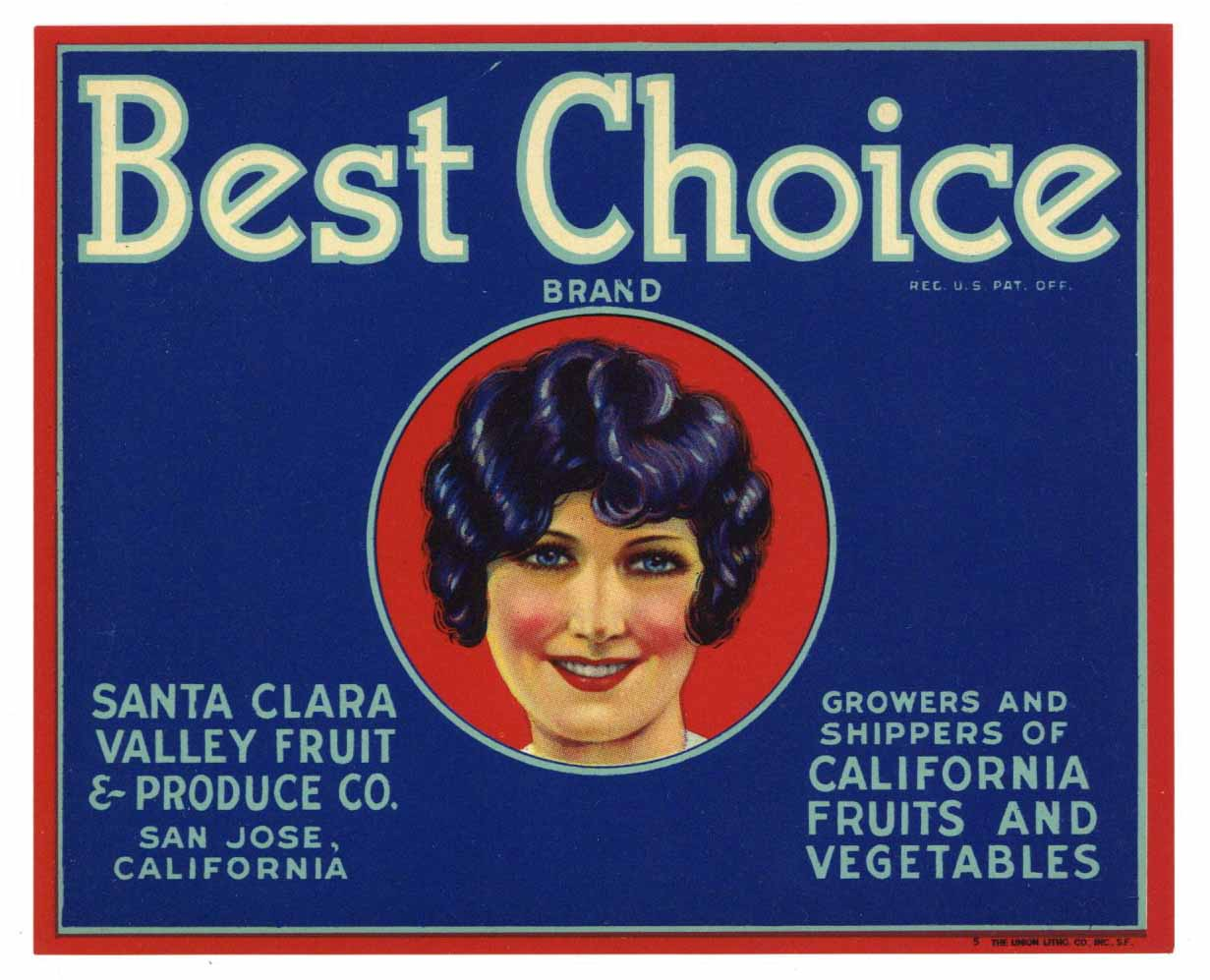 Best Choice Brand Vintage San Jose Vegetable Crate Label, red