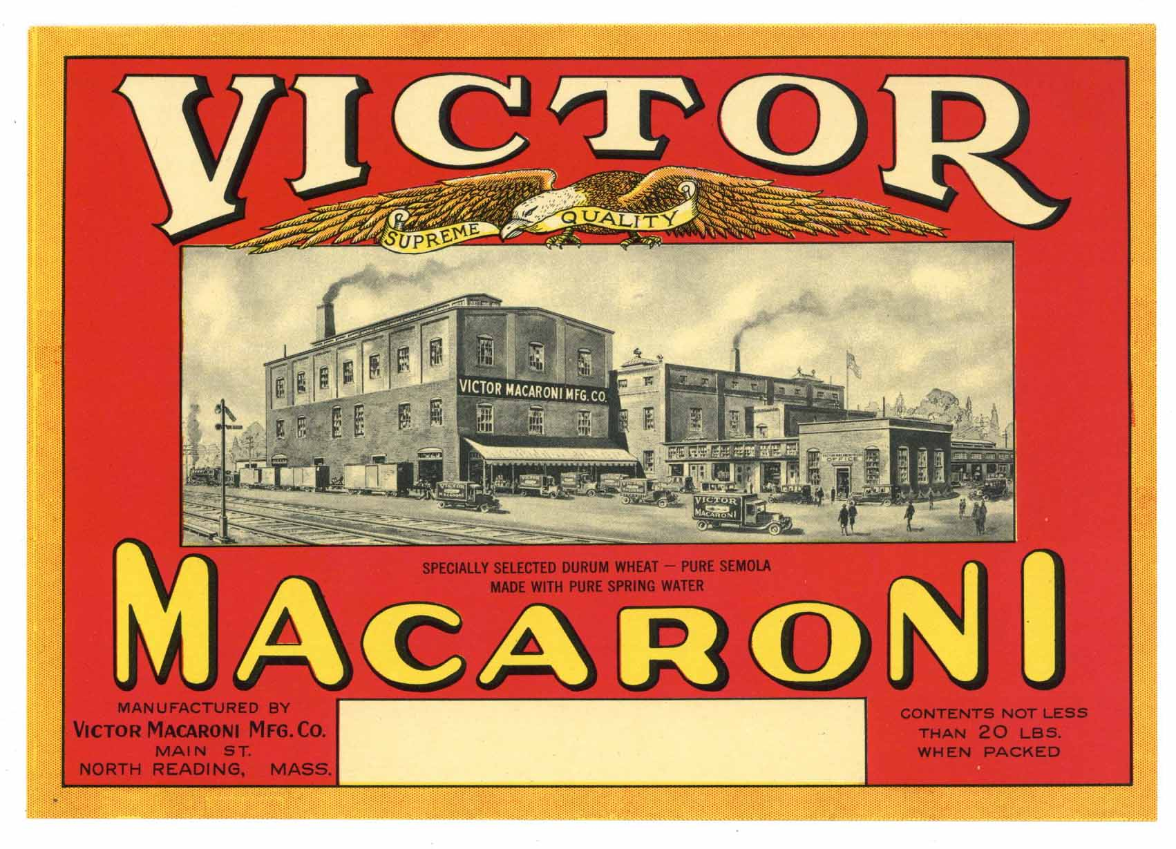 Victor Brand Vintage North Reading, Massachuseutts Macaroni Label