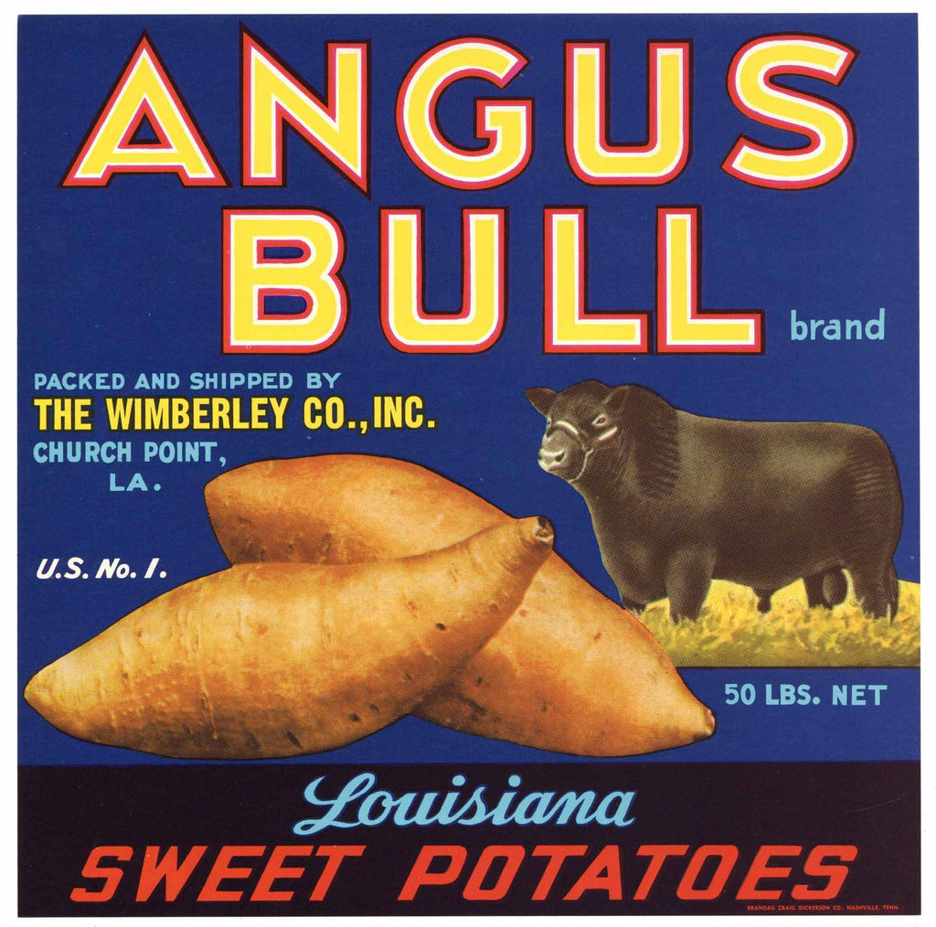 Angus Bull Brand Vintage Church Point Louisiana Yam Crate Label