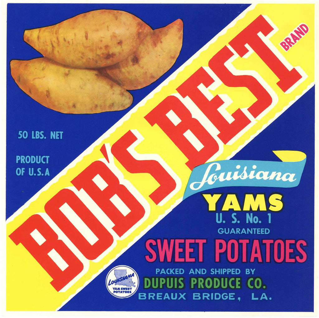 Bob's Best Brand Vintage Breaux Bridge Louisiana Yam Crate Label