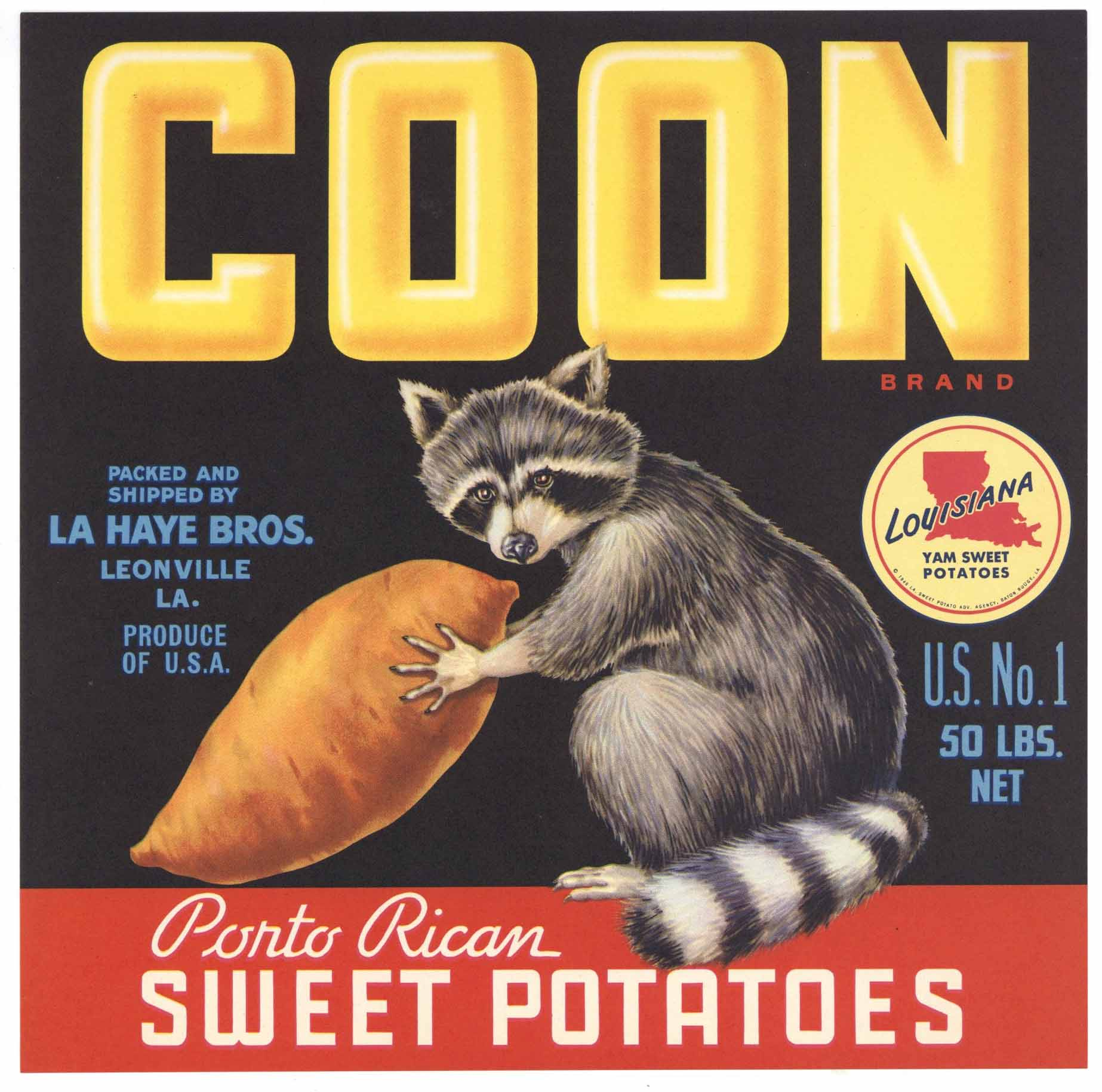 Coon Brand Vintage Leonville Louisiana Yam Crate Label