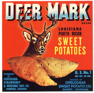 Deer Mark Brand Vintage Sunset Louisiana Yam Crate Label