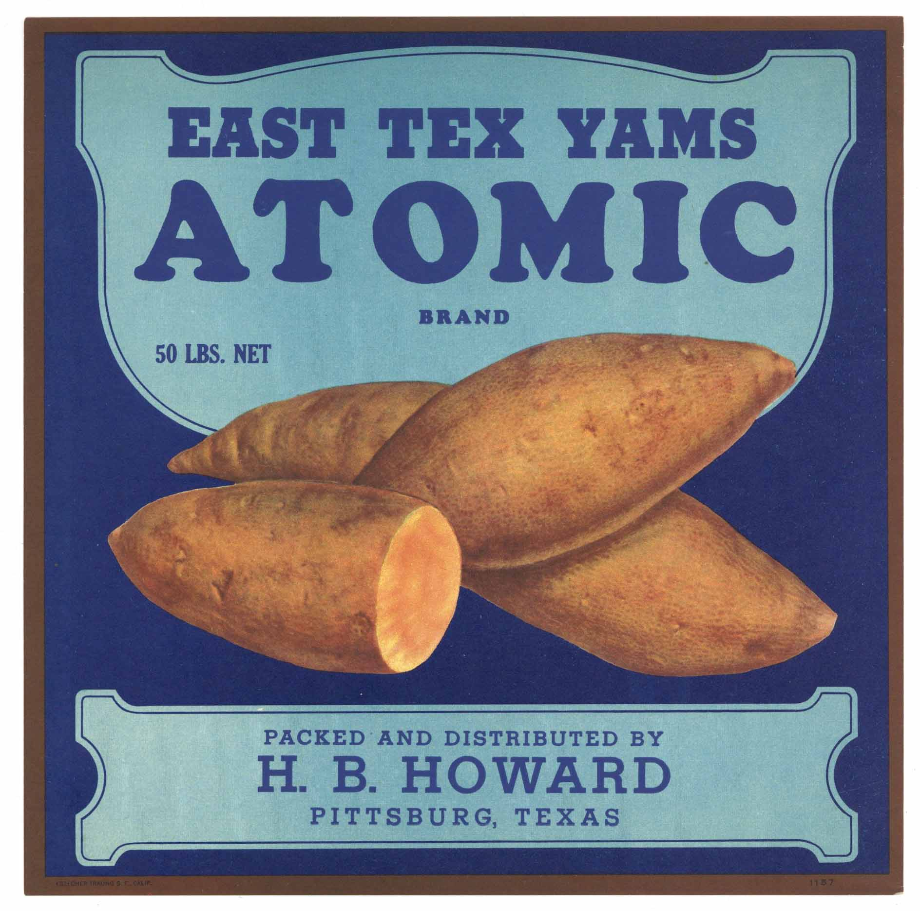 Atomic Brand Vintage Pittsburg Texas Yam Crate Label, blue title