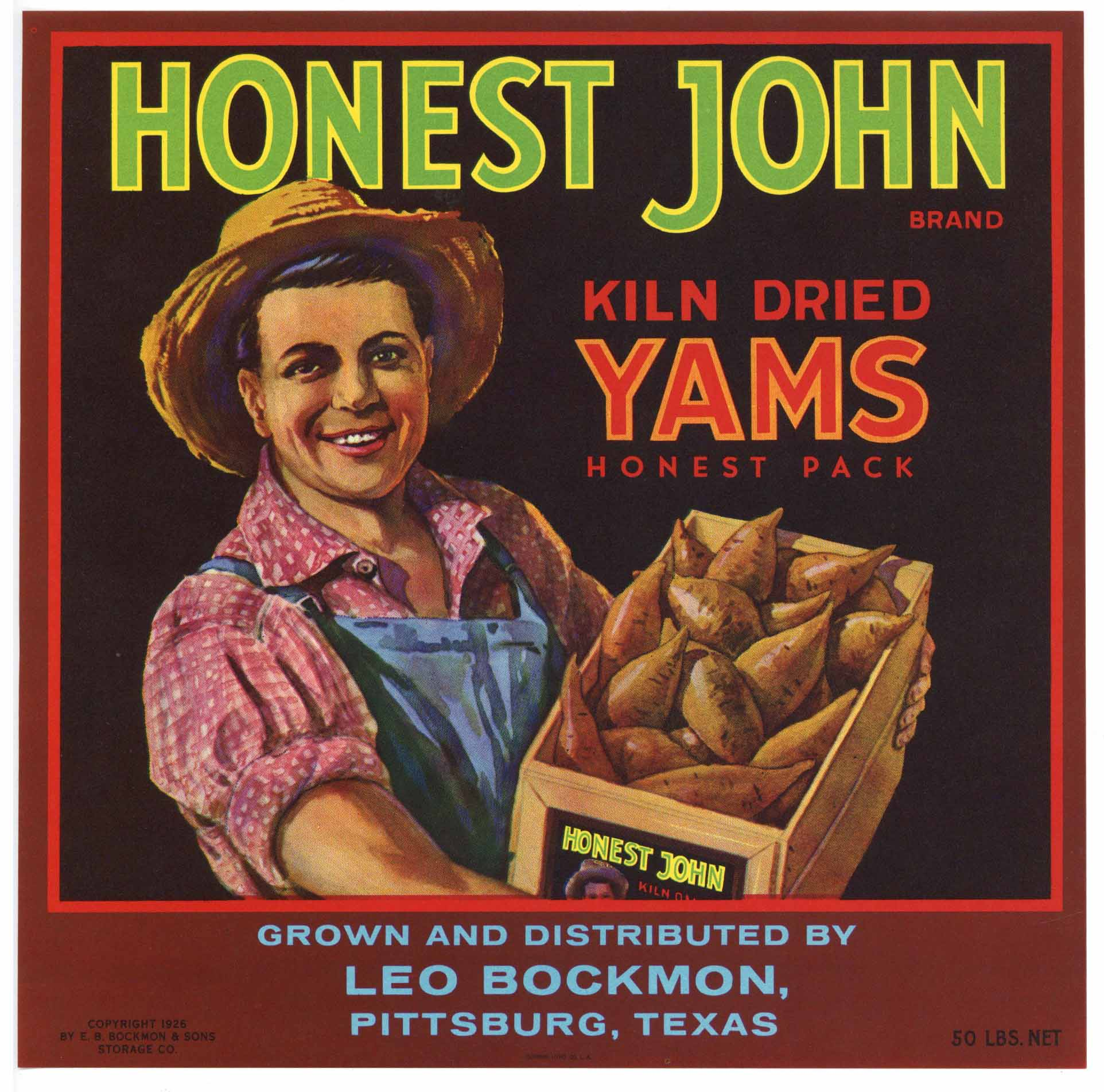 Honest John Brand Vintage Pittsburgh Texas Yam Crate Label