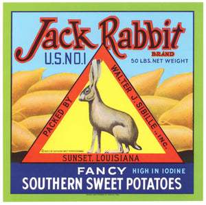 Jack Rabbit Brand Vintage Sunset Louisiana Yam Crate Label