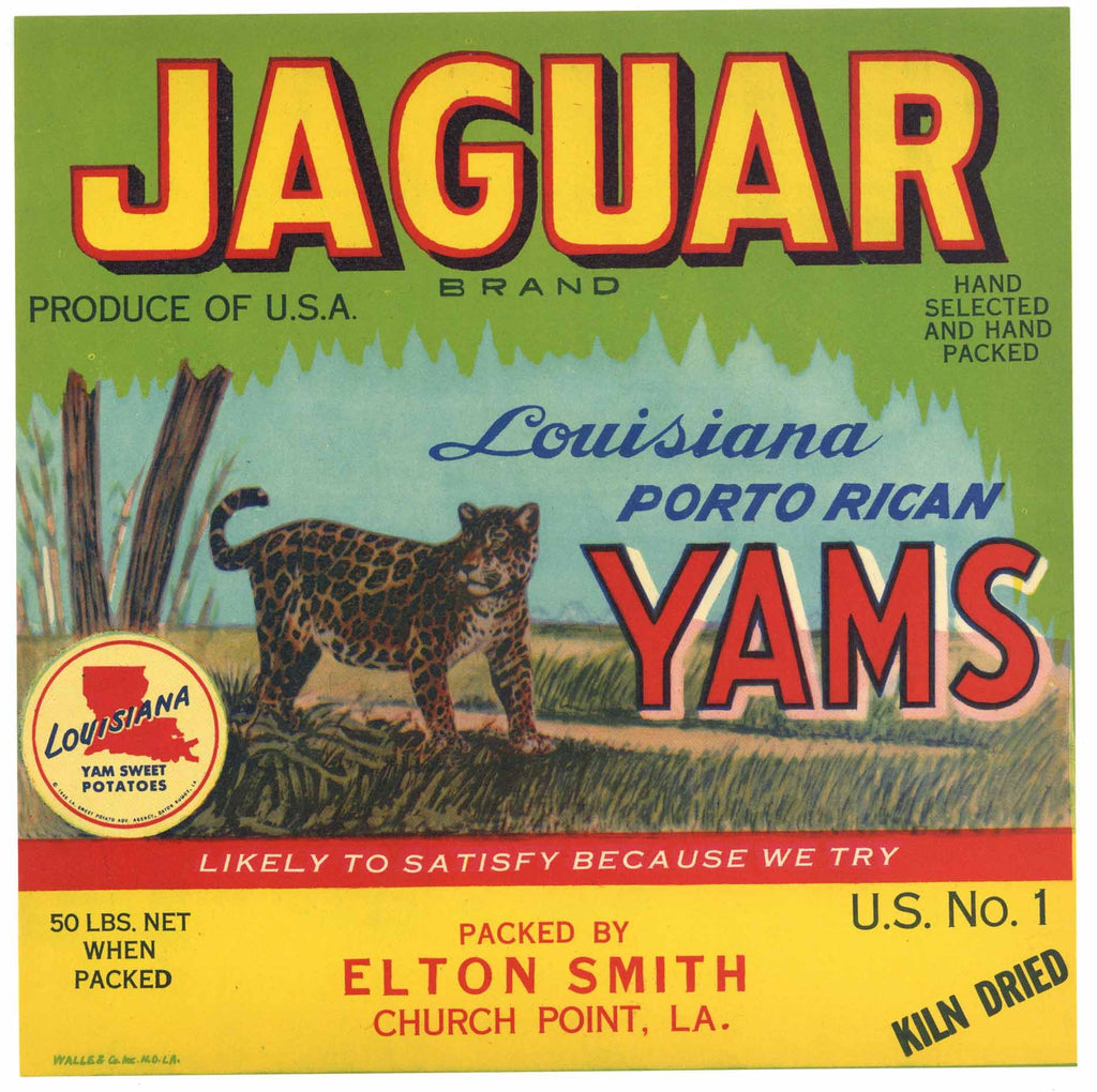 Jaguar Brand Vintage Church Point Louisiana Yam Crate Label