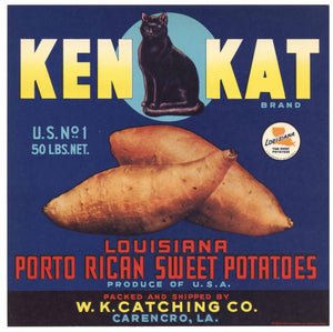 Ken Kat Brand Vintage Carencro Louisiana Yam Crate Label