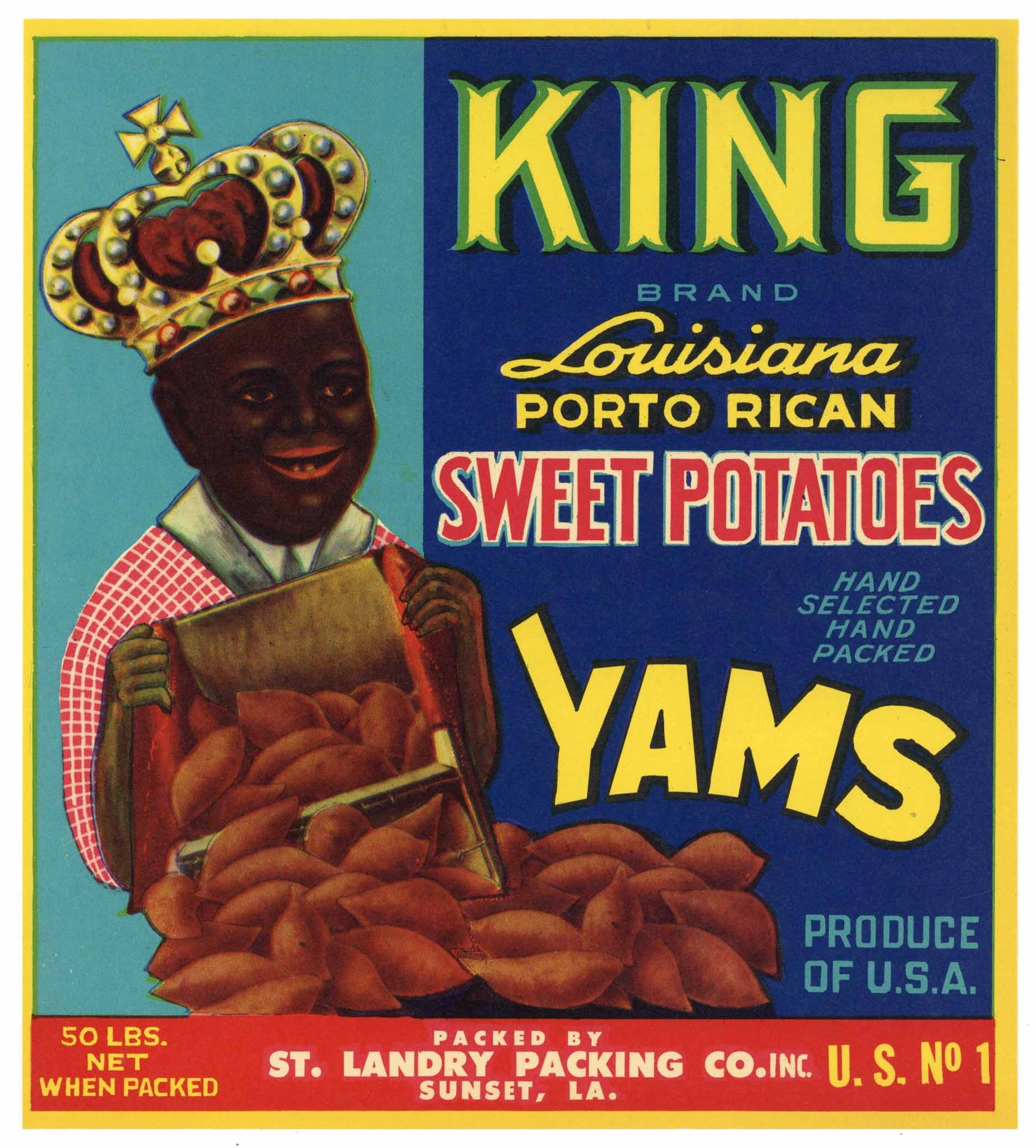 King Brand Vintage Sunset Louisiana Yam Crate Label