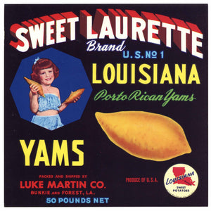 Sweet Laurette Brand Vintage Bunkie Forest Louisiana Yam Crate Label