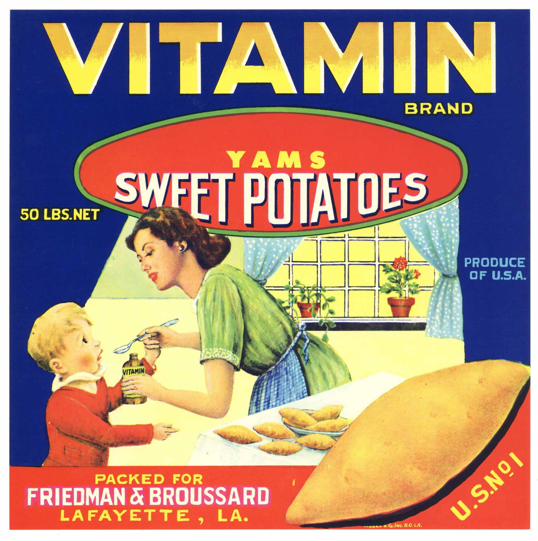 Vitamin Brand Vintage Lafayette Louisiana Yam Crate Label