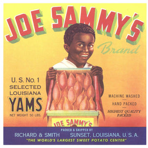 Joe Sammy's Brand Vintage Sunset Louisiana Yam Crate Label