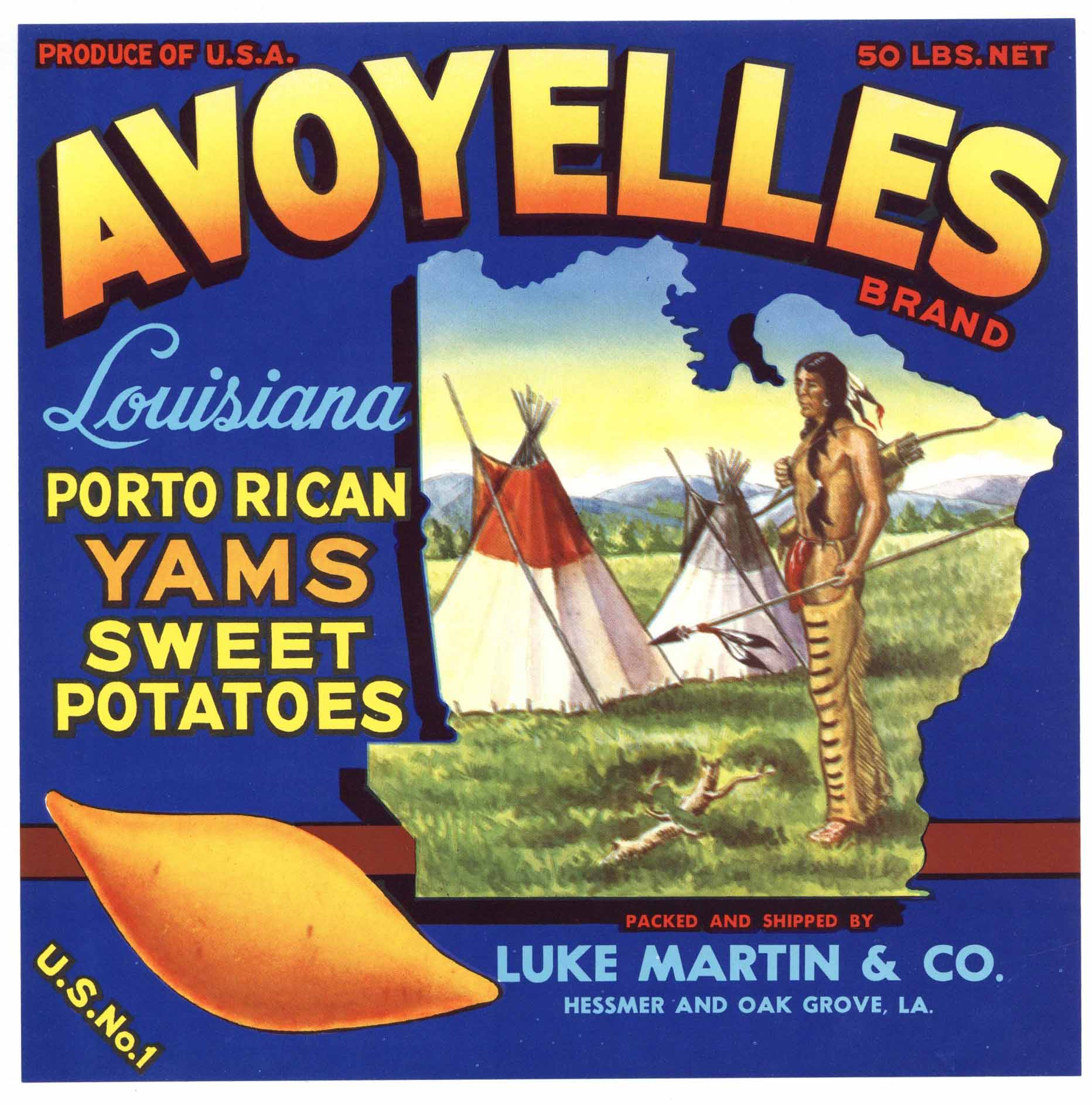 Avoyelles Brand Vintage Oak Grove Louisiana Yam Crate Label