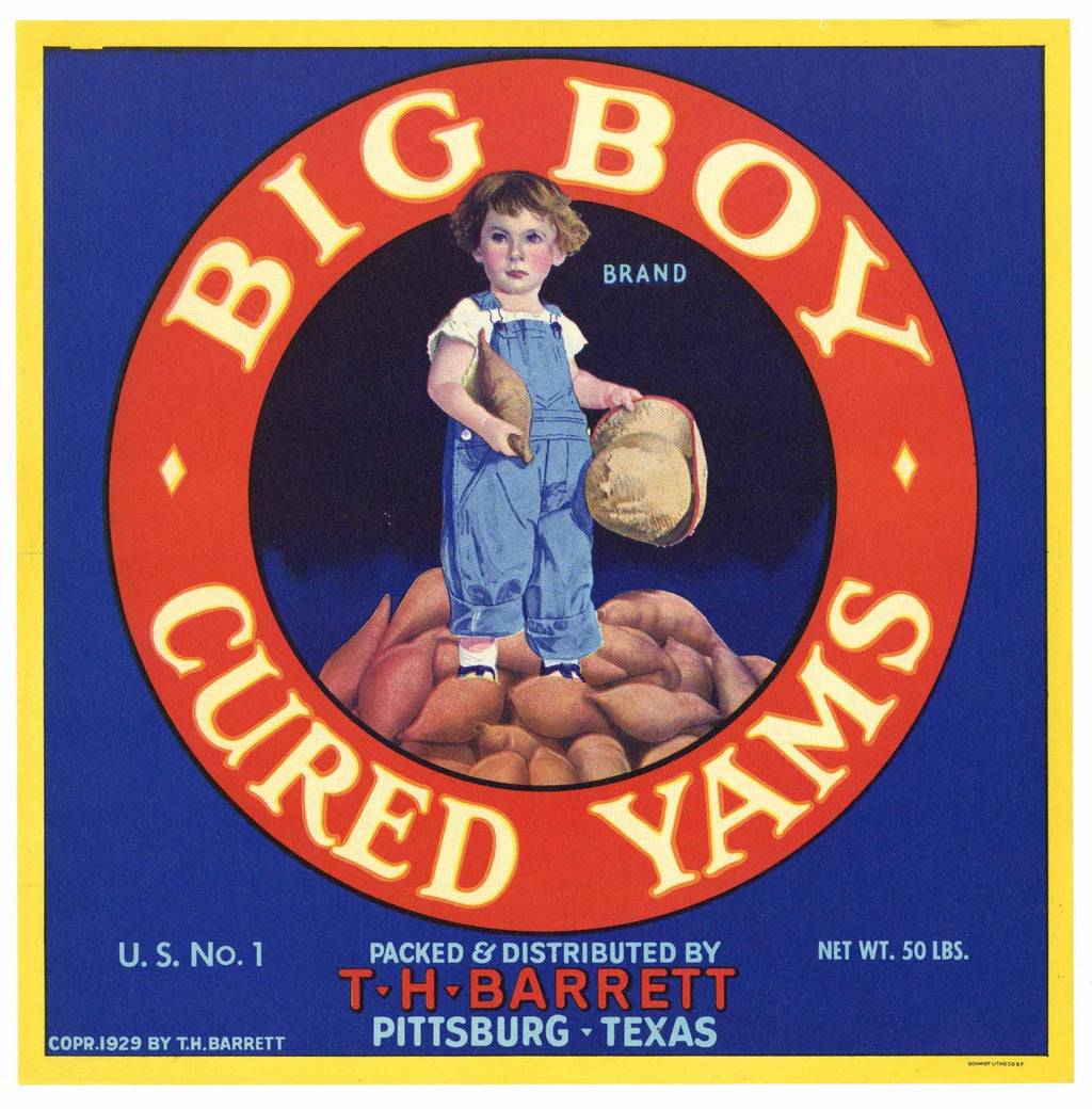 Big Boy Brand Vintage Pittsburgh Texas Yam Crate Label