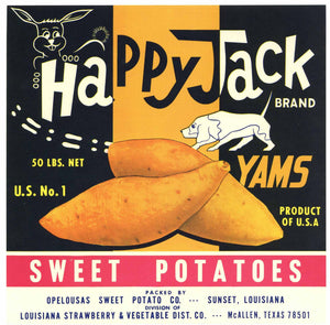 Happy Jack Brand Vintage Sunset Louisiana Yam Crate Label