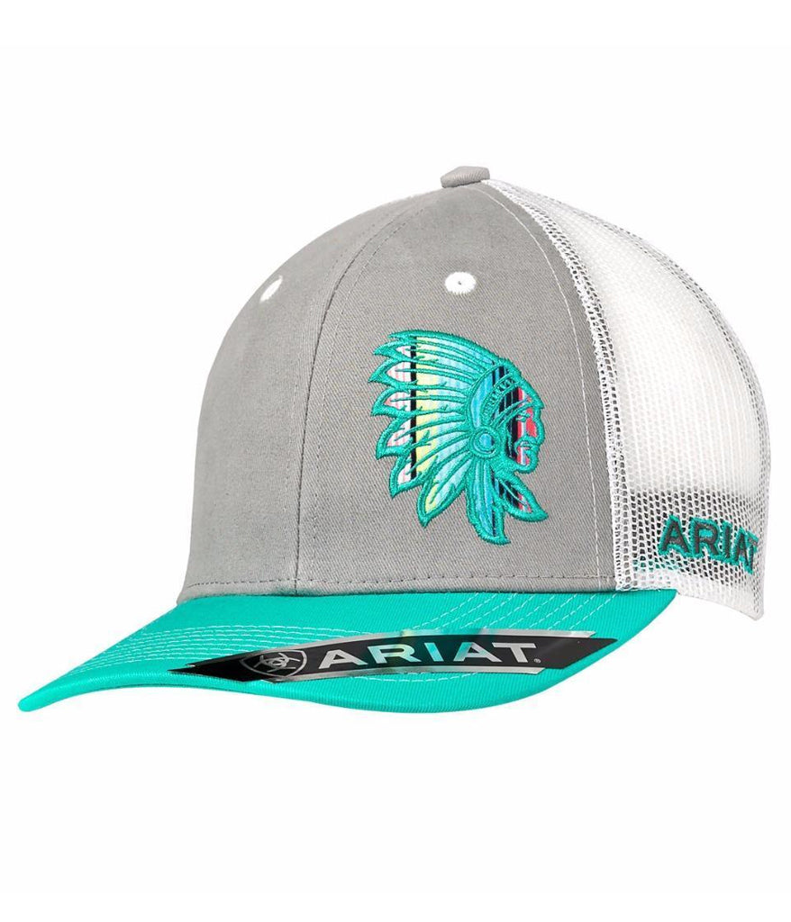 Ariat® Womens Hat Baseball Cap Serape Indian Chief Patch Grey Truquoise