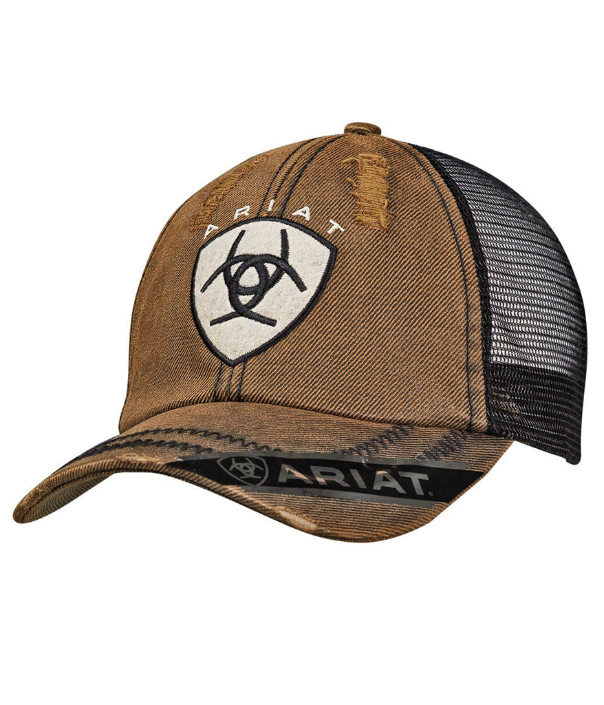 372ddf515 Ariat® Mens Hat Baseball Cap Oilskin Logo Mesh Distressed Brown/Black