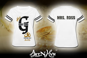 Custom Ladies Proverb 18:22 Jersey Tee (Mrs. Ross)