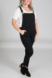 Skinny Black Denim Overalls