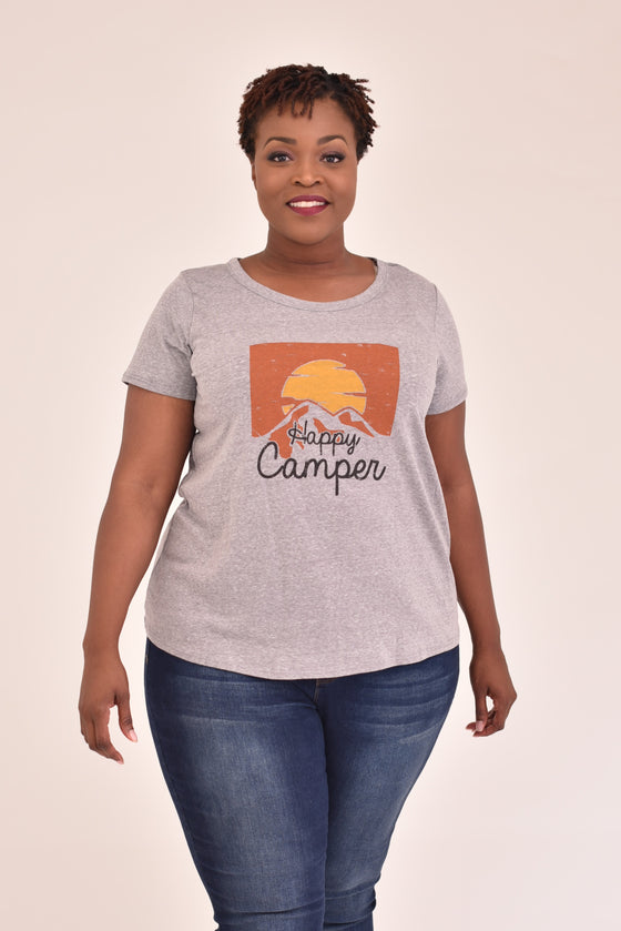 Happy Camper Sunset Curvy Tee