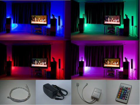 6 x 500mm Flexible Strip Colour Changing Kit with IR Remote Control