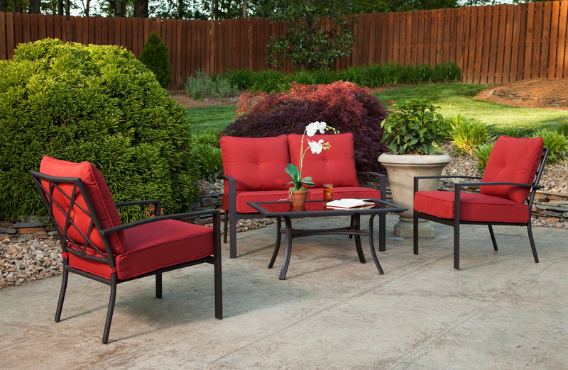 Briarwood 4 Piece Seating Set, Red