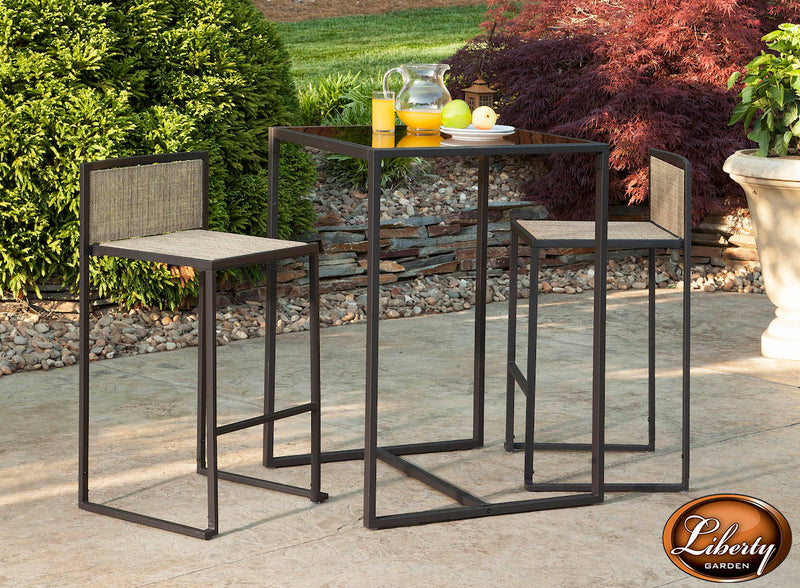 Drake 3 Piece High Dining Set, Brown