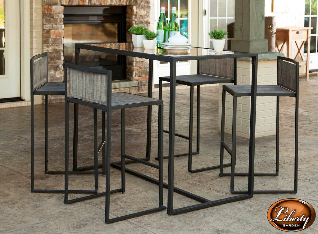 Drake 5 Piece High Dining Set, Black