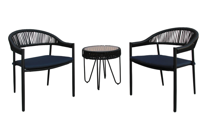 Mendoza 3 Piece Bistro Set Black