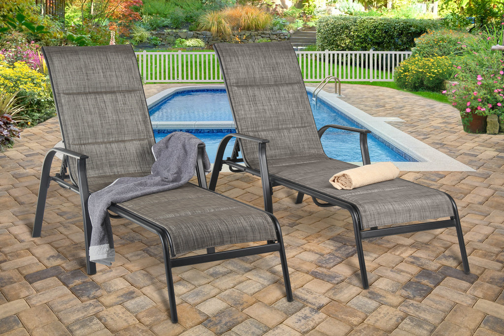 Harrington Padded Sling Chaise Lounge (2) Black