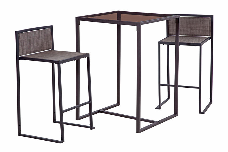 Drake 3 Piece High Dining Set, Black