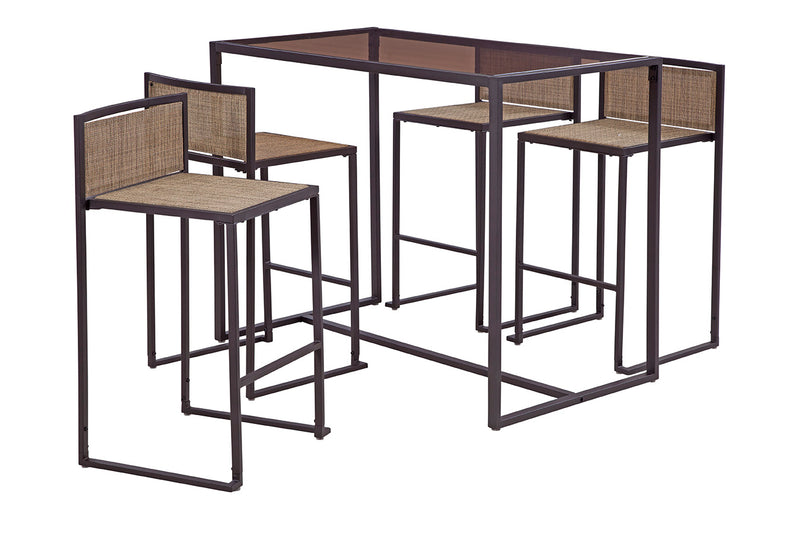 Drake 5 Piece High Dining Set, Brown