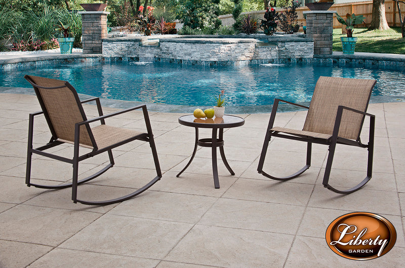Aurora 3 Piece Sling Rocking Bistro Set, Black