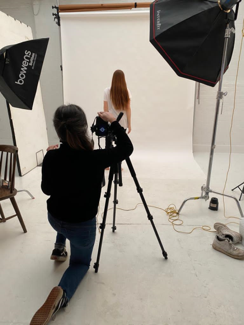 Maternity photo shoot - behind the scenes of a fashion photo shoot by NINE+QUARTER Maternity & Breastfeeding clothes