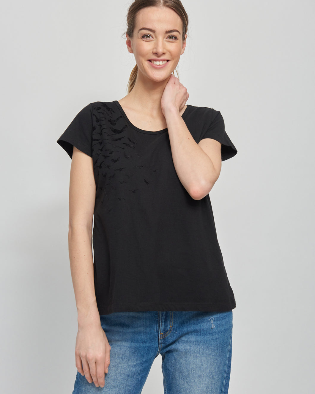 Flock of Birds Black Nursing T-shirt