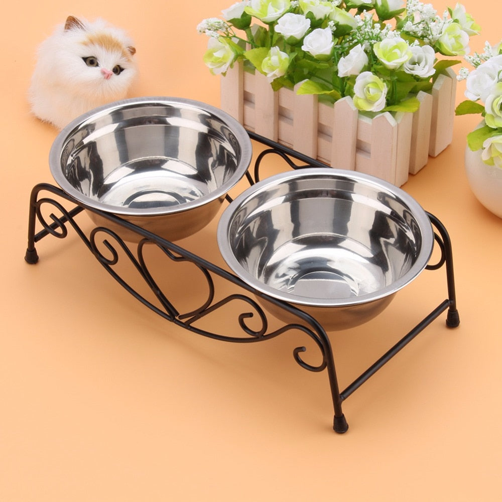 Dog Bowl Stainless Steel Pet Dog Cat Puppy Travel Feeding Feeder Double Food Bowl Water Dish Accessories