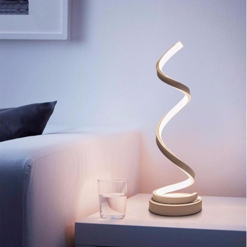 LED Table Lamp Spiral Modern Table Light Creative Design Acrylic Table Lamps Bedroom Beside Lamp Home Decor Lighting Fixture Z3