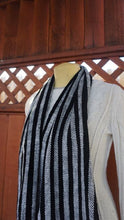 Load image into Gallery viewer, Black and white stripes handwoven scarf made in Bend Oregon