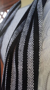 Black and white stripes handwoven scarf made in Bend Oregon