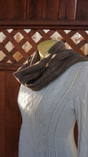 Load image into Gallery viewer, Black and brown bamboo handwoven scarf made in Bend Oregon wrapped around the neck and paired with an white sweater